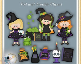 Toils and Troubles Halloween Witch Clipart