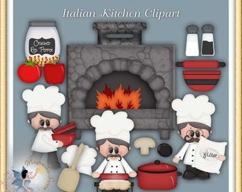 Italian Kitchen Restaurant Chef Clipart