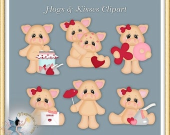 Valentines Clipart, Pigs, Hogs and Kisses