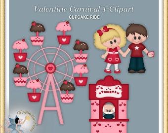 Valentine Carnival Clipart, cupcake Ferris Wheel