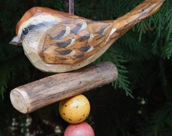 Hand Carved Bird (Sparrow) Ornament.