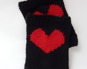 Black Knitted Boot Cuffs With Plain Red Heart Socks, Boot Topper, Leg Warmer, Boot Covers - Choose Your Color