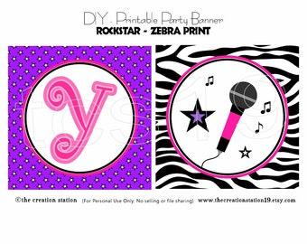 PRINTABLE Party Banner - Rockstar-Zebra Print - INSTANT DOWNLOAD