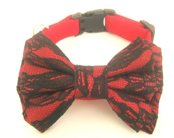 Dog Christmas collar Red collar with bow tie Pet collar Bow tie collar Dog Christmas gift Dog collar