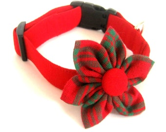Red dog collar Dog collar with fabric flower Dog flower collar Velcro flower