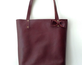 Burgundy Red leather tote bag // Simple market tote bag with detachable bow in Sangria or Ox blood