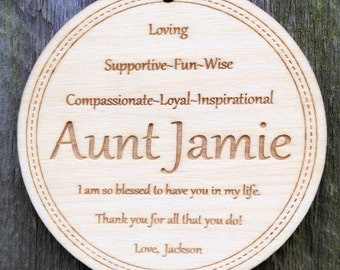 Personalized Aunt Ornament: Christmas Gift for Aunt/Engraved Wood Ornament/Mother's Day Gift for Aunt