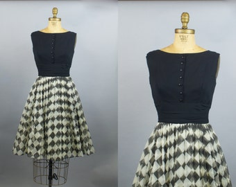 Harlequin Dress / 50s Dress / 50s Party Dress / Small