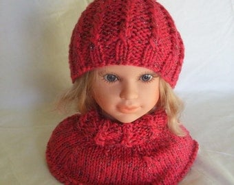 knitted wool baby Hat + neck warmer