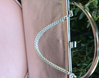 Silver clutch evening bag / purse with diver chain vintage 60s