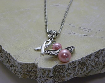 Pink Breast Cancer Awareness Ribbon Angel Necklace