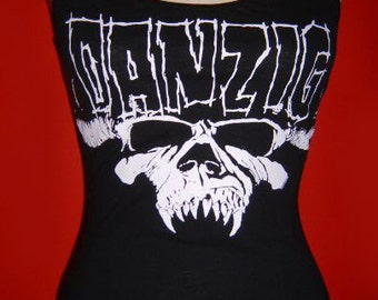 DANZIG diy halter top  tank top rock metal girly altered reconstructed shirt  xs s m l xl