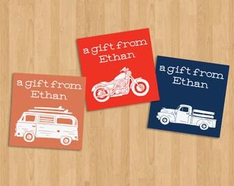 DIY Automobile Printable Custom Gift Tags/Labels