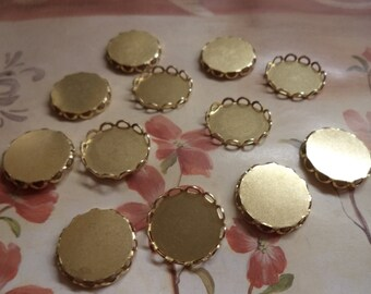 15mm round brass DTL lacquered round closed back lace edge cup settings 12 pc lot l