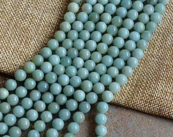 """8mm Amazonite Beads, Gemstone Beads,Soft Green Gemstone,Semi Precious Beads, Soft Green Stone Beads, One Strand, 15.5"""", MAN14-31"""