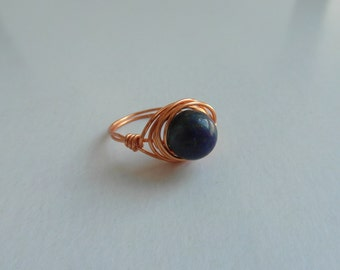 Wire Wrapped Dark Blue Sodalite Ring