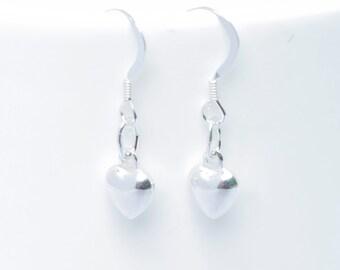 Sterling silver heart earrings - Heart Dangle  Earrings - Sterling silver earrings - Heart Earrings