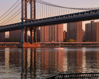 Manhattan Bridge in Early Morning, Sailboat, East River, Skyline, NYC, Manhattan View, Cityscape