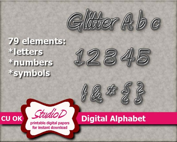 silver glitter alphabet 3d digital letters digital