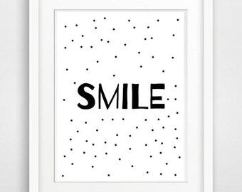 smile printable typography art nursery art feel good print nursery print wallart motivational print printable quote inspiring wall art