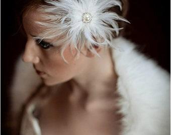 Feather flowers, feather ivory birdcage veil, birdcage veil, veil, bridal veil, shabby chic veil, wedding veil, alternate veil, veil
