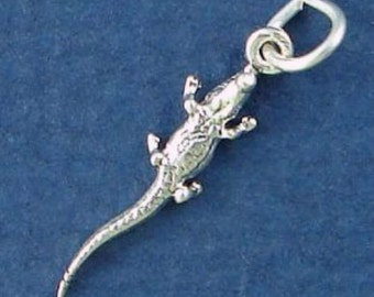ALLIGATOR Charm .925 Sterling Silver Florida MINIATURE Small - elp686
