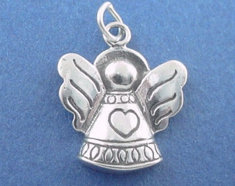 ANGEL Charm, Angel With HEART .925 Sterling Silver Charm
