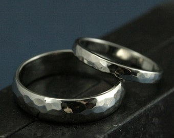 Hammered Wedding Set--Perfect Hammered 14K Gold Bands--His and Hers Rings--Hammered White Gold Bands-Men's Wedding Ring-Women's Wedding Ring