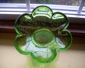 Green flower shaped bubble glass vase