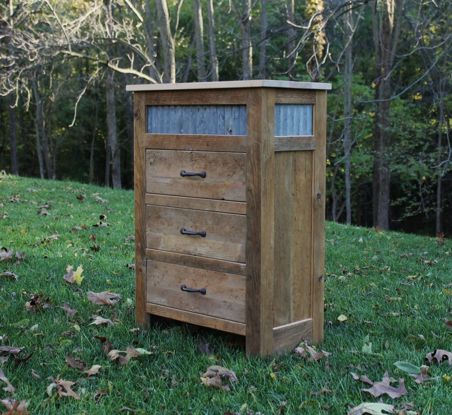 Rustic chest of drawers reclaimed barn wood w tin