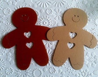 12 Large Gingerbread Men Ginger Bread Die Cuts for Cards/Toppers Christmas Festive Craft Card making Scrapbooking