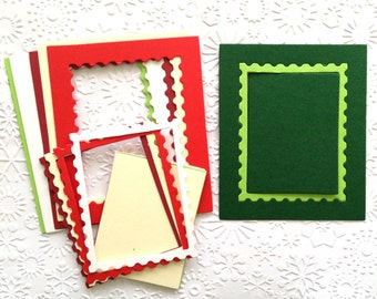 15 Christmas Stamp Frame die cuts with Inserts for cards/toppers *45 pieces in total* cardmaking scrapbooking