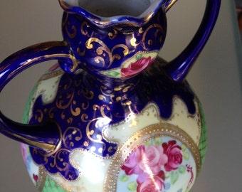 Vintage Cobalt, Gold & Roses Nippon Vase double handles