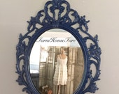 ORNATE OVAL MIRROR, Royal Blue Large Wall Hanging Mirror, Baroque Mirror, Shabby Cottage Chic Picture Frame Bathroom Vanity Mirror