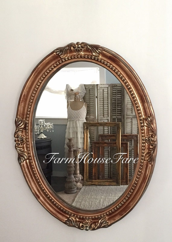 Large gold oval mirror baroque ornate french by farmhousefare for Baroque oval mirror