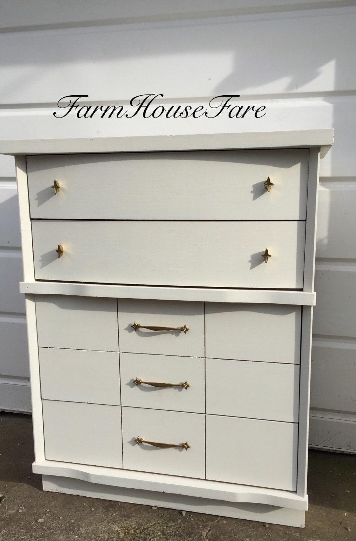 White Painted Dresser Chalk Paint Mid Century Modern Vintage