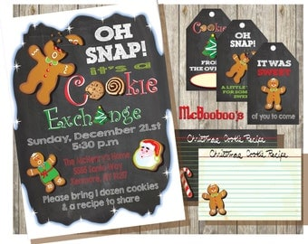 Oh Snap!  Chalkboard Cookie Exchange or Cookie Swap Party Invitations, tags & recipe cards