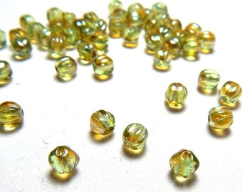 5mm Chrysolite Celsian Round Czech Beads, Yellow Green Beads, Lime Beads, Yellow Beads, 5mm Beads, 5mm Melon Round Beads T-32D