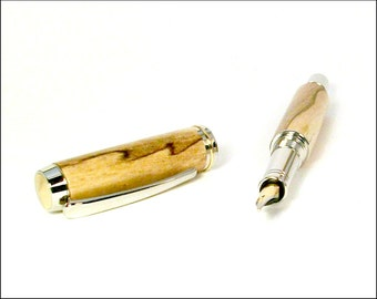 Fountain Pen. Hand crafted Rhodium Fountain Pen. Unique Writing Instrument. Fine Fountain Pen. Wooden Pen Gift. Custom Made Pens. FP78