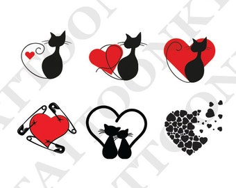 Hearts and cats tattoo pack of 6. Temporary tattoos. Party fake tattoo