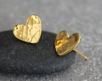 Gold heart earrings, Small gold stud earrings, Gold hammered earrings, heart stud earrings, gold heart studs.