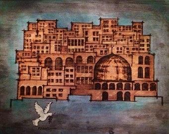 Holy land, jerusalem the old city, wood burning design