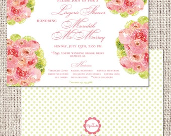 Coral Peony Bridal Shower or Birthday Invitation