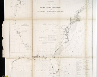 Original 1864 U S Coast Survey Atlantic Gulf Of Mexico And Pacific Coast Vintage United States Original