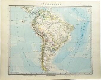 Original Color Lithograph Map Of South America 1897 Stieler's Hand Atlas #89 18 x 15 Rare Vintage Atlas Map Wall Decor