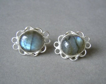 Sterling Silver & Labradorite Post Earrings