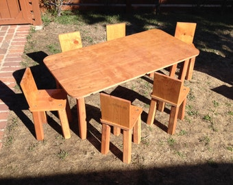 Kids table and chairs, childrens table and chairs, handmade at Jason Varley Designs, solid wood, non-toxic stain, beautiful rustic look.