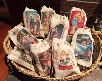Religious Advent Calendar Christmas Holiday Bags. Set of 25 Christian Vintage 3x5 4x6