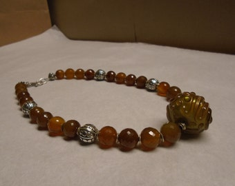 Golden Brown Chalcedony and Sterling Silver Necklace