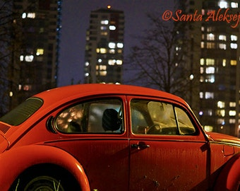 Red VW Beetle Photo - Fine Art Photography - 8x12 print - Volkswagen Bug Photo - car photography - city photography - night photography